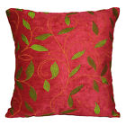 wh03a Red, Lime Leaf Embroidered Chenille Throw Pillow CASE/Cushion COVER*Size
