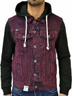 MENS DESIGNER ZICO JEANS DENIM FITTED HOODED JACKET VINTAGE COAT TRENDY PUNK TOP