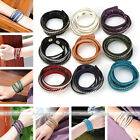 Fashion Metal Rivet Suede Leather Wrap Streamline Crystal Bangle Bracelet Cuff