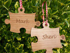 Pair+of+Personalised+Christmas+Decorations%3A+Couple+jigsaw+tree+bauble+wooden