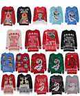 Women Ladies Novelty Vintage Retro Pom Pom Merry Christmas Knitted Jumper Top