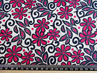 Pink black flowers ivory background 100% cotton POPLIN Fabric material