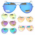 Unisex Pop 80s Neon Metal Wire Rim Color Mirror Lens Aviator Sunglasses New