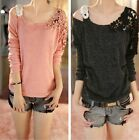 1x Women Off Shoulder Floral Knitted Shirt Crochet Sweater Loose Pullover Top #S