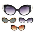 Womens Unique Metal Wire Tip Goth Fashion Plastic Cat Eye Vogue Chic Sunglasses