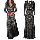 Fashion Ladies Lace Long Sleeve Wedding Evening Formal Cocktail Party Full Dress