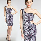 Plaid Feather Printing Sexy Women One Shoulder Wedding Party Bodycon Dress 925