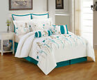 10 Piece Kristen Teal and Ivory Comforter Set