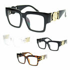 Unisex Lion Emblem Hinge Luxury Fashion Thick Arm Rectangular Plastic Eyeglasses