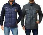 Mens Designer Voi Jeans Jacket Padded Smart Quilted Wool Trim Warm Coat Winter