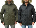 Mens Designer Foray Coat Chunky Padded Hooded Fur Parka Lined Warm Winter Jacket