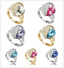 Hot Selling Women's Ring Romantic Heart Crystal Ring with Rhinestone Rings 4360