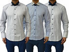 Mens Designer Swade Jeans Platinum Long Sleeve Smart Casual Going Out Shirt Top