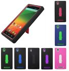 For ZTE ZMax Z970 Heavy Duty Stand Multi Color Hybrid Hard Soft Cover Case