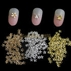 10x Gold Silver Champagne Flower 3D Nail Art Alloy DIY Decorations Crafts Tips
