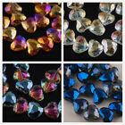 10pcs Faceted Crystal Glass Charms Heart Findings Loose Spacer Beads 19x16mm
