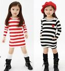 Girl Kid Stripe Dress Long Sleeve School Party Skirt Clothes 2-7Y Spring Autumn