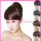 Womens Long Side False Bangs Hairpiece Neat Fringe Clip On Hair Extension HOT