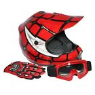 Youth Red Spider Net Dirt Bike Motocross Off-Road Helmet MX Goggles+Gloves S M L