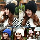 1PC  2014 women winter hats with fur ball Knitted Braided Crochet Beret Caps
