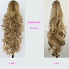 PONYTAIL Clip In Hair Extensions Blonde Mix #18/613 REVERSIBLE 4 Claw Clip