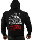 BLACK BORN IN THE GYM BODYBUILDING CLOTHING HOODIE, WORKOUT TOP GYM FITNESS G-69