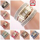 Women Vintage Fashion Crystal Band Bracelet Dial Quartz Dress Wrist Analog Watch