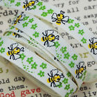 5 meters Buzzy Bees & Flowers Grosgrain Ribbon for Hair Clips and Bows