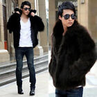 Mens Luxury Lapel Faux Fox Fur Fluffy Warm Winter Waist Coat Special Jacket