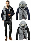 Men's Winter Thermal Wadded Cotton Padded Coat Hooded Warm Jacket Down Overcoat
