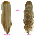 Ladies 3/4 WIG Half Fall Clip In Hair Piece Medium Blonde Mix #18/613
