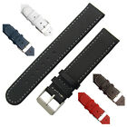 Leather watch strap band Contrast Stitched Choice of Colours 16mm 18mm 20mm