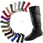 Women Comfy Slouch Boots Zipper Round Toe Casual Dress Fashion Winter Suede Shoe