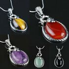 Gemstone Snake Healing Chakra Cut Crystal Alloy Wired Pendant Beads For Necklace