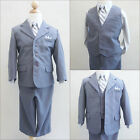 Elegant  Boy Silver/grey pinstripe/grey shirt wedding recital party formal suit