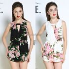 Playsuit Floral Chiffon overall Romper cocktail party evening V Neck Jumpsuit 3d