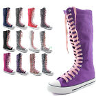 Woman Canvas Mid Calf Tall Boots Casual Sneaker Punk Flat Light Pink Shoelace