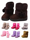 Cute Baby Kids Toddler Little Girl Winter Warm Faux Fur Pom Pom Snow Boots Shoes