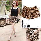 Hot Girls Lady Women's Leopard Print Casual Middle Waist Shorts Pants Trousers
