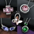 Swarovski crystal Pendant chain Necklace 18k white gold plated women's gift os22