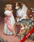 Little Girl Giving Treat to Collie Dog Arthur Elsley Painting Real Canvas Print