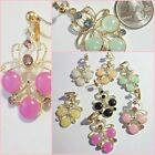 Rhinestone 1-5/8 inch Dangle CLIP ON or Pierced Fashion Earrings 1 pr Pick Color