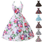 2015 FAST Women VTG Swing 50s Rockabilly Halter Housewife  Floral tea Dress US