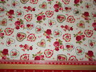 Hearts & red / pink roses printed fabric 100% cotton poplin Fabric material
