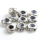 10/50/11/55x New Bulk Round Silver Plated Rubber Alloy Spacer Beads Fit Bracelet