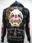 New Christian Audigier mens double Platinum skull claw hoodie shirt jacket Black
