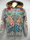 New Christian Audigier mens double Platinum skull claw hoodie shirt jacket gry