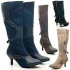 NEW LADIES CASUAL MID CALF BOOTS KITTEN LOW HEEL RIDING BUCKLE SHOES UK SIZES