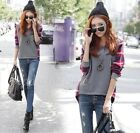 Hot Lady's Plaid Checked Long Sleeve Casual Loose T shirt Tops Blouse