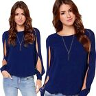 Sexy Women's Loose Chiffon Crew-Neck Tops Long Hollow Sleeve Shirt Casual Blouse